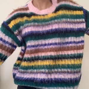 Colorful Striped Fuzzy Sweater